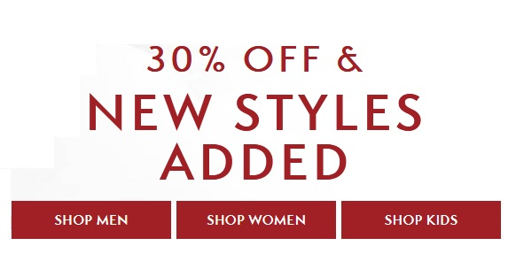 30% Off Select Clothing, Accessories & Footwear